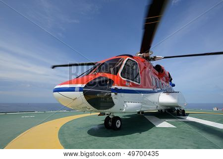 The S92 Helicopter Park On Oil Rig