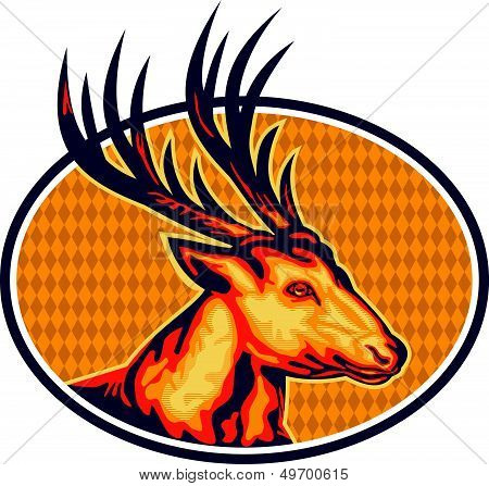 Deer Stag Buck Head Retro