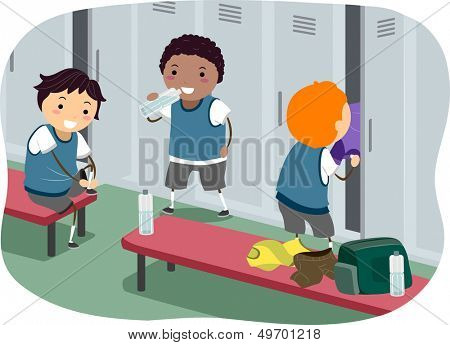 Stickman Illustration Featuring Boys Hanging Out in the Locker Room