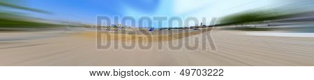 Jeddah Cornish and waterfront in Hamra on the Red Sea with radial blur