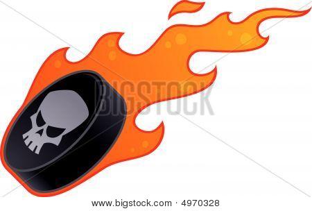Flaming Skull Hockey Puck