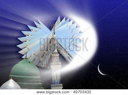 Photos of Prophet's Mosque with Ramadan night