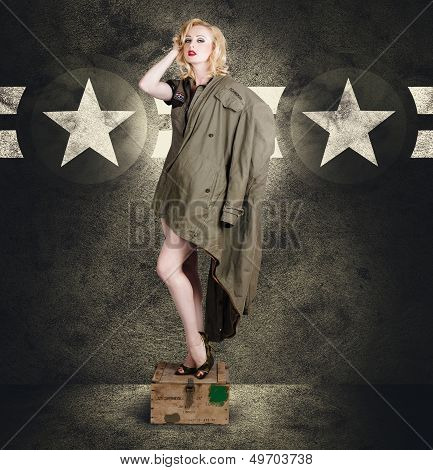 Vintage Army Pinup Woman In Military Fashion