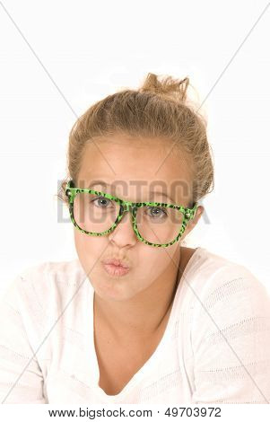 Young Girl In Trendy Green Glasses