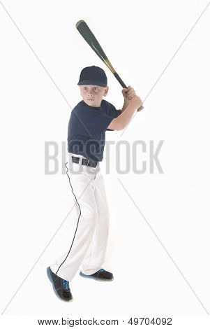 Young Boy In Batting Stance
