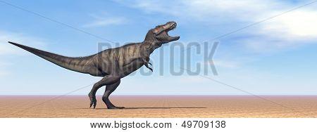 Tyrannosaurus dinosaur in the desert - 3D render