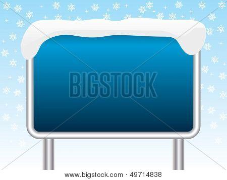 Snowy Blue Sign