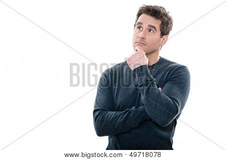 one caucasian mature portrait thinking anxious looking up studio  white background