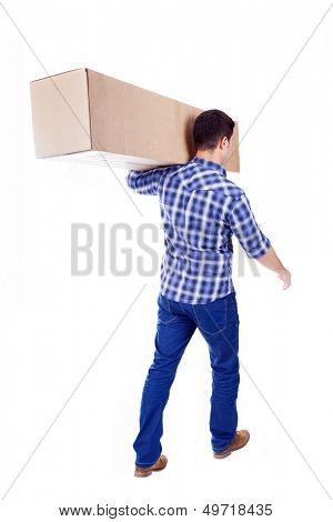Man walking and carrying a cardbox isolated on white background