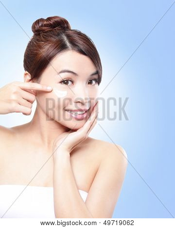 Beautiful Face Of Girl Applying Moisturize Cream