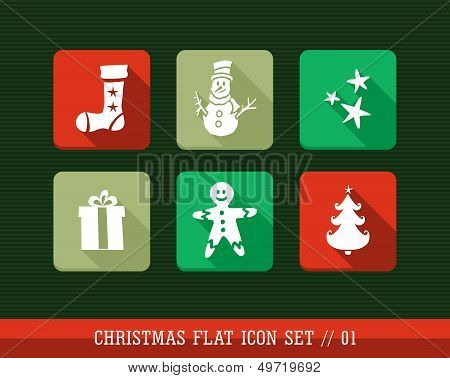 Colorful Merry Christmas Flat Icons Set.