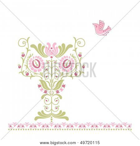 ethno tulip motif and bird