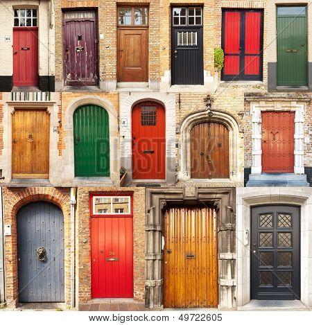 Collage Of Doors From Bruges, Belgium