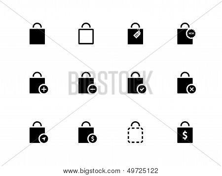 Shopping bag icons on white background.