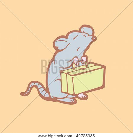 Illustration of mouse leaving home. Pest control concept. Destruction of rodents. Cartoon rat get out.