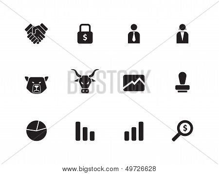 Finance icons on white background.
