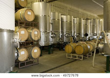Fermentation tanks and barrels of wine in cellar