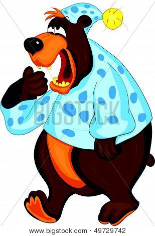 Bear in pajamas covers mouth with his paw