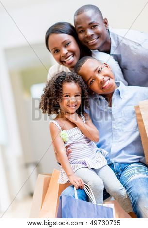 Beautiful portrait of an African American shopping family