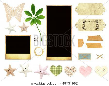 Collection of old photos and starfishes for scrapbooking. Isolated over white