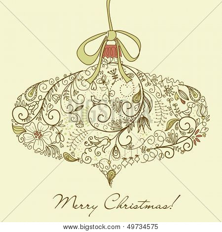 Christmas ornament in retro style, vector illustration