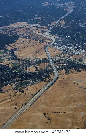 Aerial view of Californian highway road