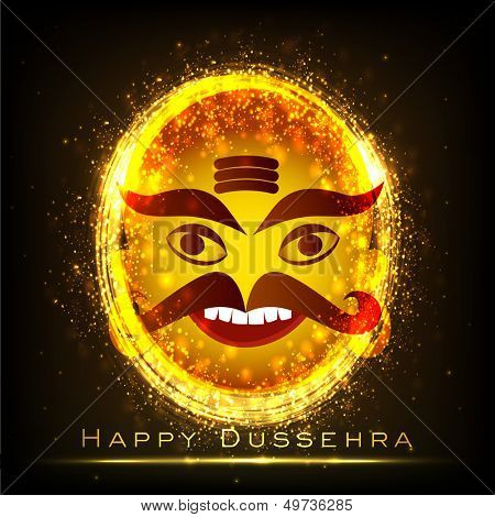 Indian festival Happy Dussehra background with shiny illustration of a smiling Ravana,