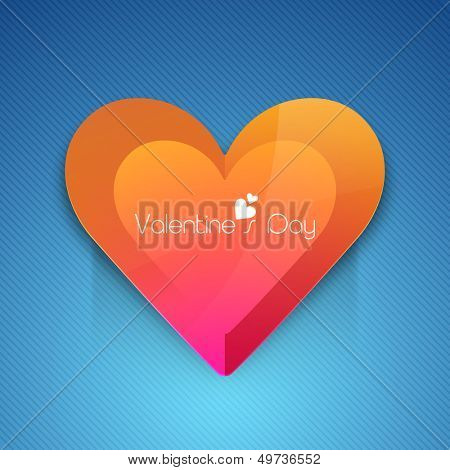 Happy Valentines Day background with glossy heart on blue background.