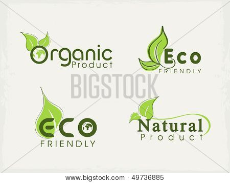 Stickers, tags or labels with green leaves.