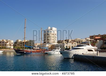 Sea Dock In Beautiful Jordanian Town.