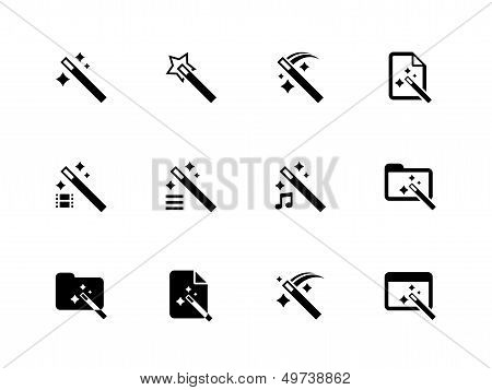Magician icons isolated on white background.