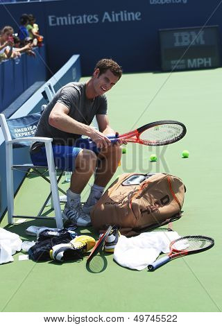 Two times Grand Slam champion Andy Murray after practice for US Open 2013 at Louis Armstrong Stadium