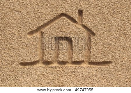 House(home) Icon Or Sign Drawing In Beach Sand - Concept Photo