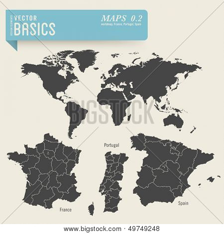 vector basics: worldmap and detailed maps of France, Portugal and Spain