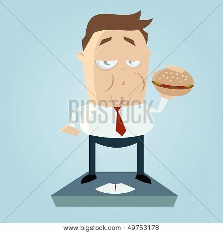 overweight cartoon man with hamburger