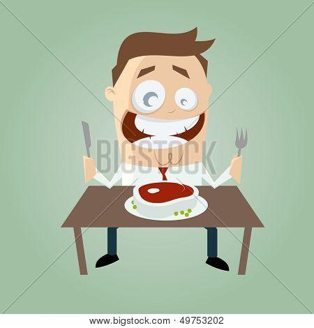 happy cartoon man with big steak