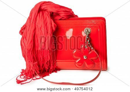 Red Patent Leather Bag And Bamboo Scarf