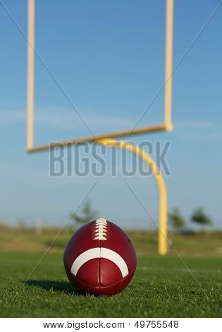 American Football on the Field with the Uprights Beyond