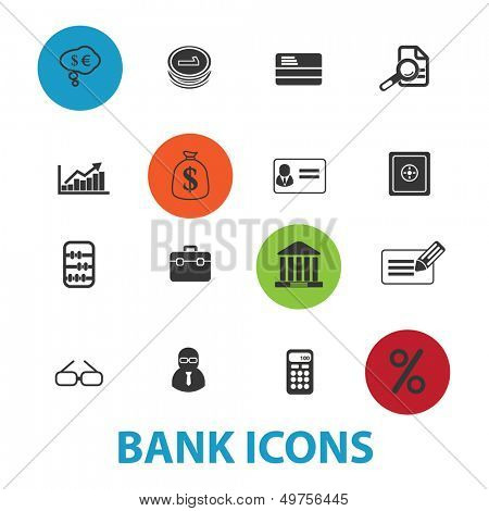 bank, money icons, signs set, vector