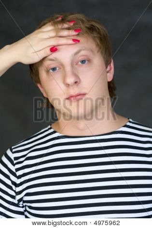 Man With Female Hand On His Forehead