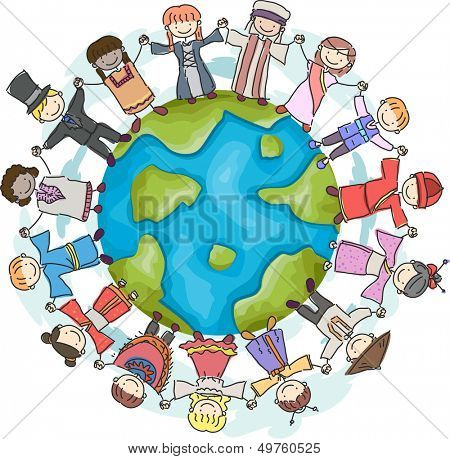 Doodle Illustration Featuring Kids Wearing National Costumes Encircling a Globe