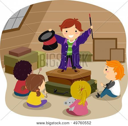 Stickman Illustration Featuring a Boy Performing Magic Tricks in an Attic