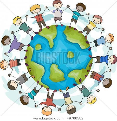 Doodle Illustration Featuring Boys with Hands Linked Together Encircling a Globe