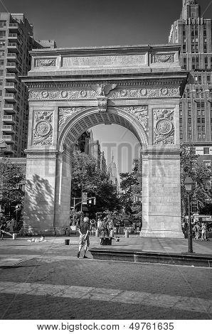 Washington Square Arch And The Empire State Building In The Distance