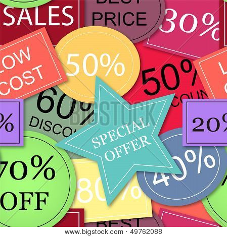 Seamless Vector With Colorful Tags Of Price Discounts And Offers