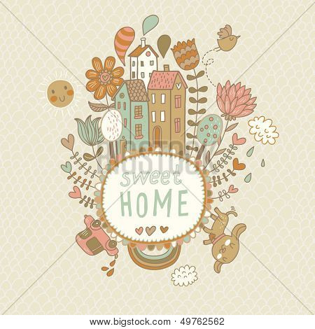 Sweet home. Concept vector background with houses, bird, sun, car, dog, rainbow, clouds and flowers in cartoon style