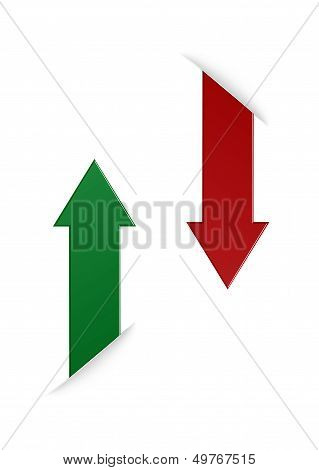 The green and red vertical arrows