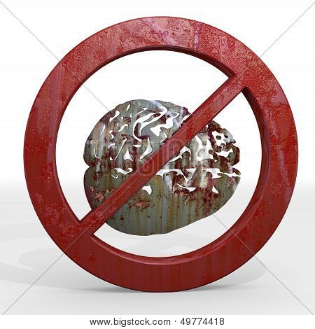 3D Render Of A Rusty Brain Sign Not Allowed