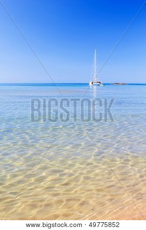View on Mediterranean sea with crystal clean water from Cala del Pilar beach at Menorca, Spain.