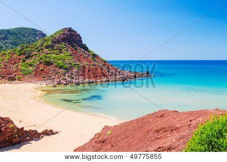 Cala del Pilar beach scenery in sunny day at Menorca, Spain.